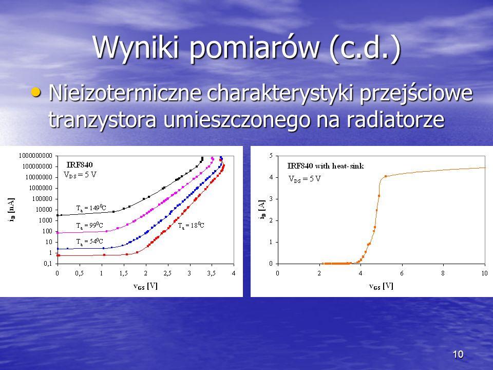 10 Wyniki pomiarów (c.d.) Nieizotermiczne charakterystyki przejściowe tranzystora umieszczonego na radiatorze Nieizotermiczne charakterystyki przejściowe tranzystora umieszczonego na radiatorze