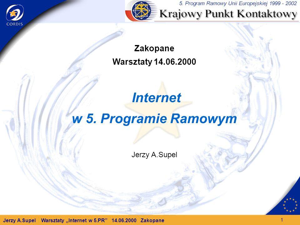 Jerzy A.Supel Warsztaty Internet w 5.PR 14.06.2000 Zakopane 1 Zakopane Warsztaty 14.06.2000 Internet w 5.