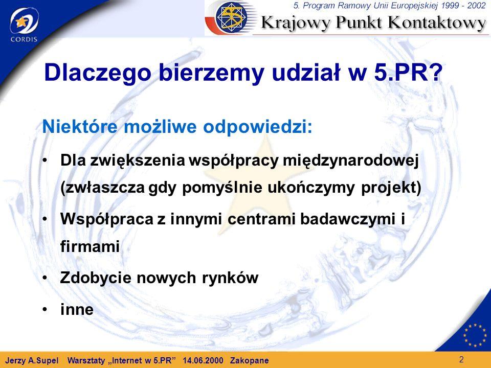 Jerzy A.Supel Warsztaty Internet w 5.PR 14.06.2000 Zakopane 2 Dlaczego bierzemy udział w 5.PR.