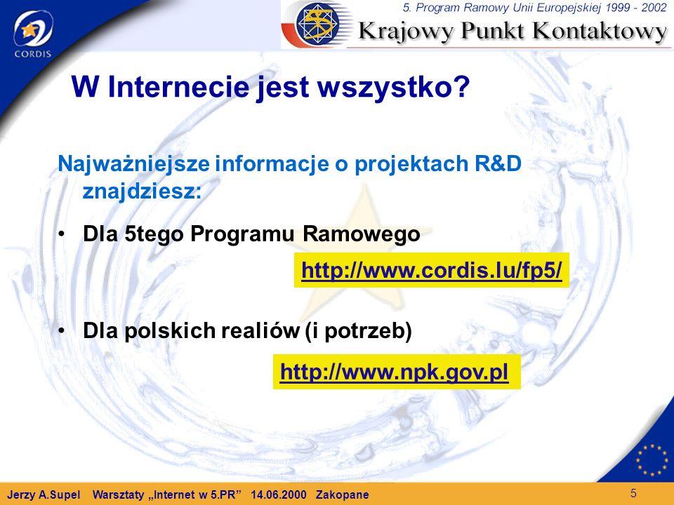 Jerzy A.Supel Warsztaty Internet w 5.PR 14.06.2000 Zakopane 5 W Internecie jest wszystko.