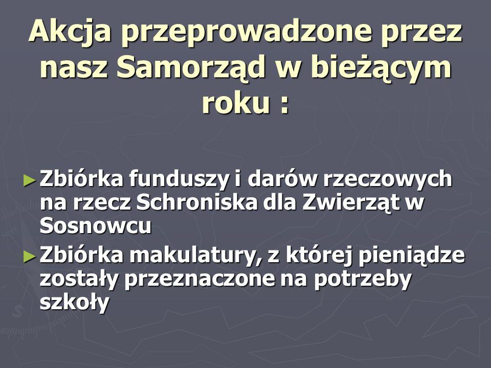 Akcja przeprowadzone przez nasz Samorząd w bieżącym roku : Zbiórka funduszy i darów rzeczowych na rzecz Schroniska dla Zwierząt w Sosnowcu Zbiórka fun