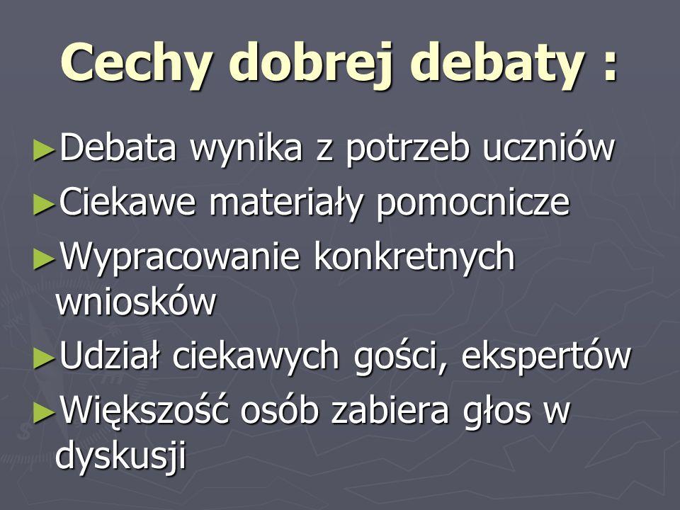 Cechy dobrej debaty : Debata wynika z potrzeb uczniów Debata wynika z potrzeb uczniów Ciekawe materiały pomocnicze Ciekawe materiały pomocnicze Wyprac