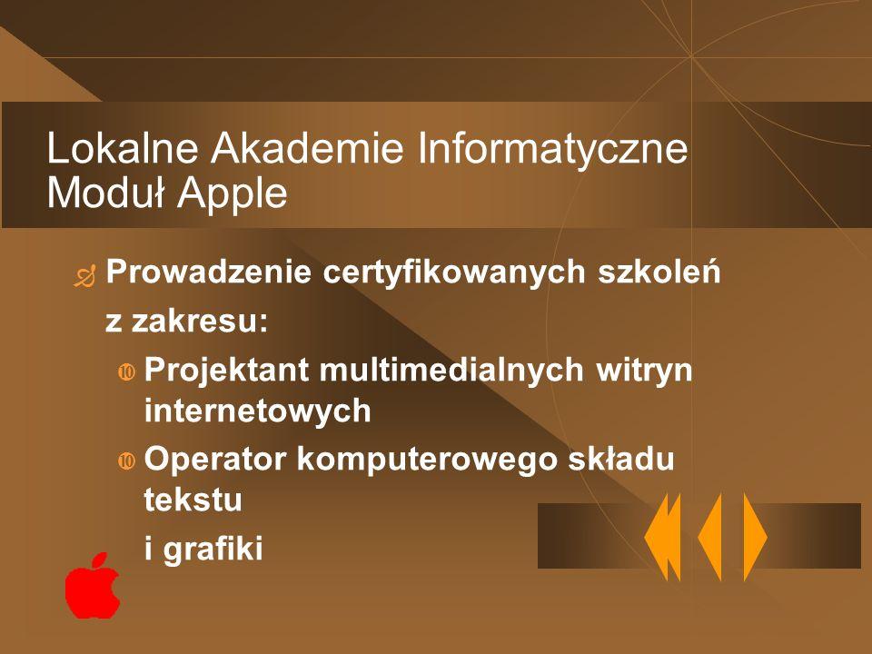 Prowadzenie certyfikowanych szkoleń z zakresu: Projektant multimedialnych witryn internetowych Operator komputerowego składu tekstu i grafiki Lokalne