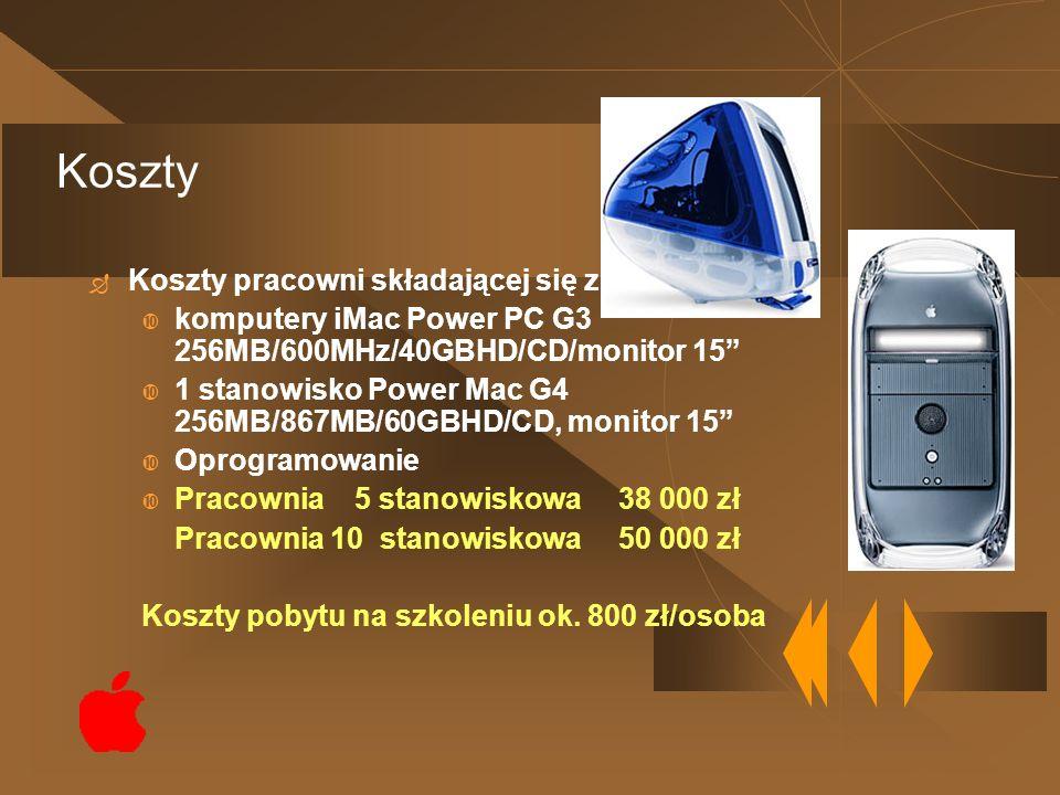 Koszty pracowni składającej się z: komputery iMac Power PC G3 256MB/600MHz/40GBHD/CD/monitor 15 1 stanowisko Power Mac G4 256MB/867MB/60GBHD/CD, monit