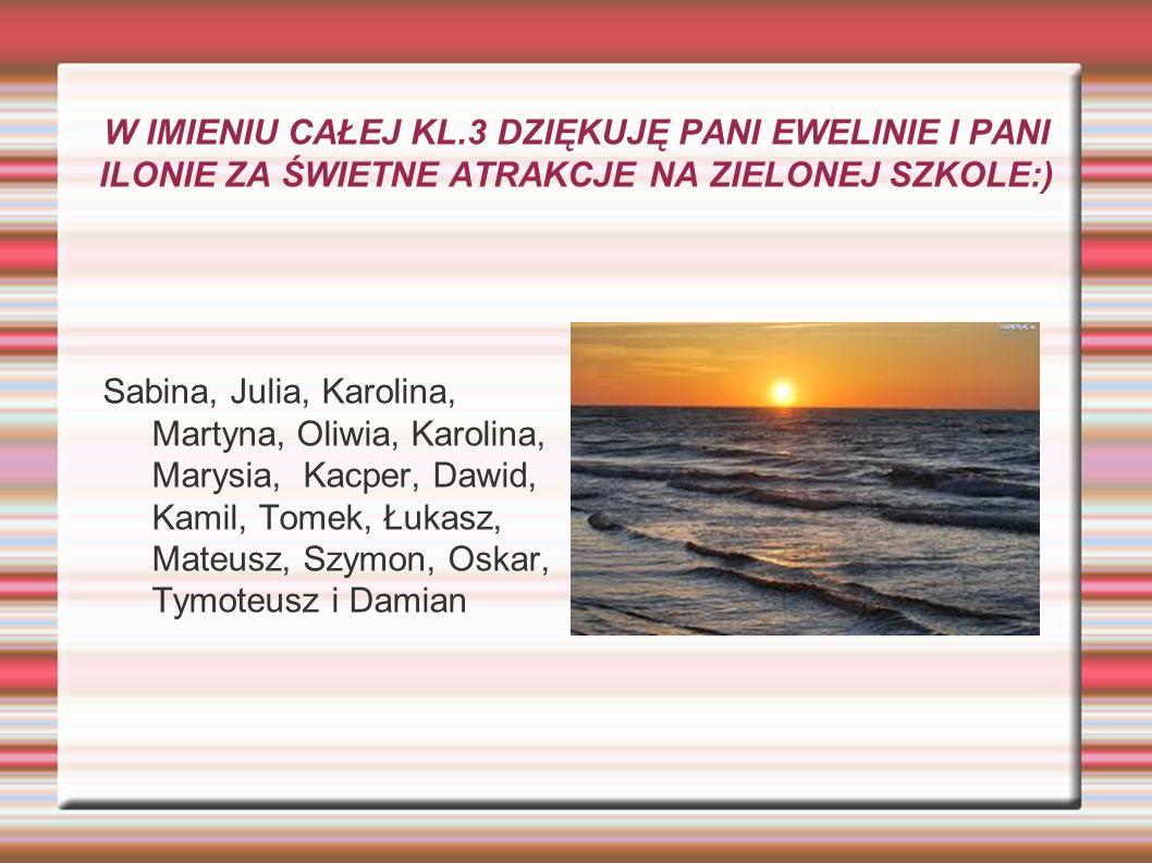 W IMIENIU CAŁEJ KL.3 DZIĘKUJĘ PANI EWELINIE I PANI ILONIE ZA ŚWIETNE ATRAKCJE NA ZIELONEJ SZKOLE:) Sabina, Julia, Karolina, Martyna, Oliwia, Karolina,