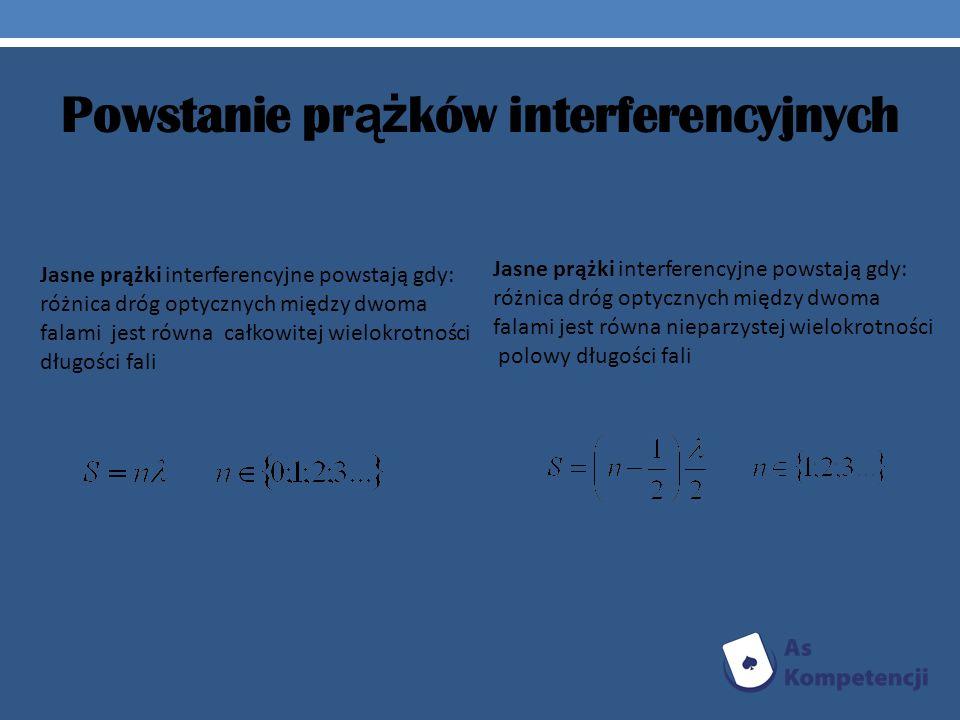 Powstanie pr ąż ków interferencyjnych Jasne prążki interferencyjne powstają gdy: różnica dróg optycznych między dwoma falami jest równa całkowitej wie