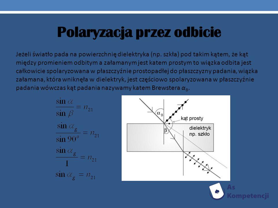 Polaryzacja przez odbicie Jeżeli światło pada na powierzchnię dielektryka (np. szkła) pod takim kątem, że kąt między promieniem odbitym a załamanym je