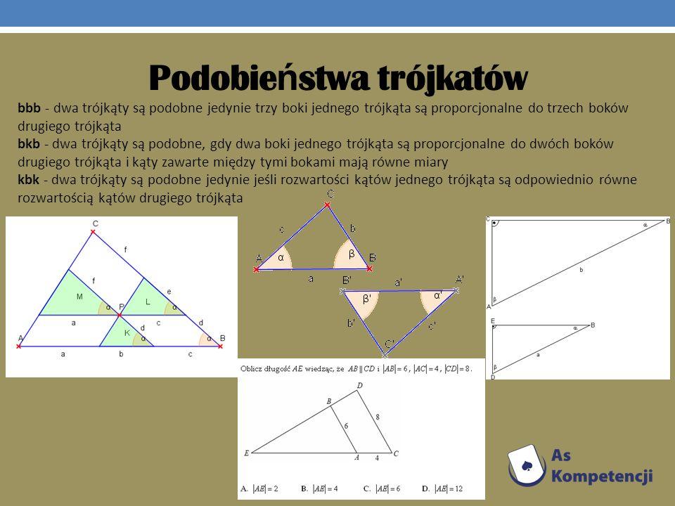 Podobie ń stwa trójkatów bbb - dwa trójkąty są podobne jedynie trzy boki jednego trójkąta są proporcjonalne do trzech boków drugiego trójkąta bkb - dw