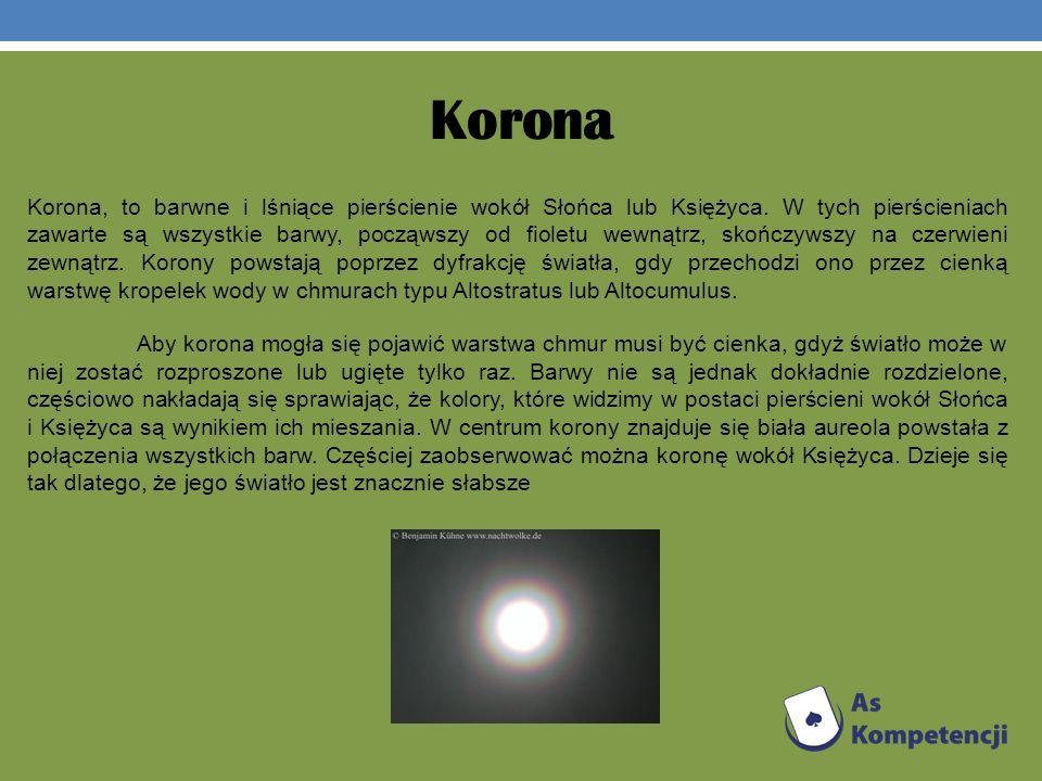 Korona Korona, to barwne i lśniące pierścienie wokół Słońca lub Księżyca. W tych pierścieniach zawarte są wszystkie barwy, począwszy od fioletu wewnąt