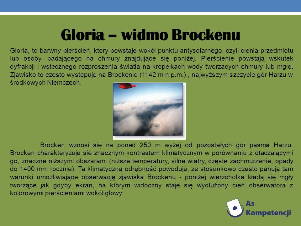 Gloria – widmo Brockenu Gloria, to barwny pierścień, który powstaje wokół punktu antysolarnego, czyli cienia przedmiotu lub osoby, padającego na chmur