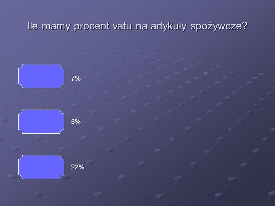 Ile mamy procent vatu na artykuły spożywcze? 7% 3% 22%