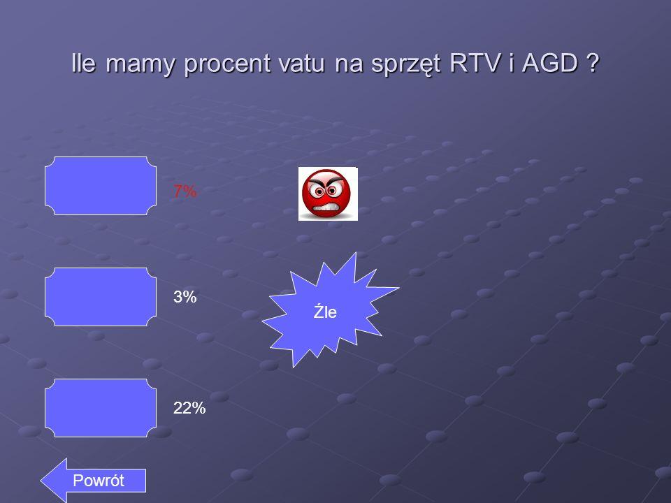 Ile mamy procent vatu na sprzęt RTV i AGD 7% 3% 22% Powrót Źle