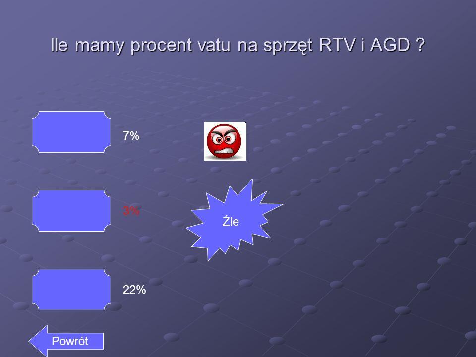 Ile mamy procent vatu na sprzęt RTV i AGD ? 7% 3% 22% Powrót Źle