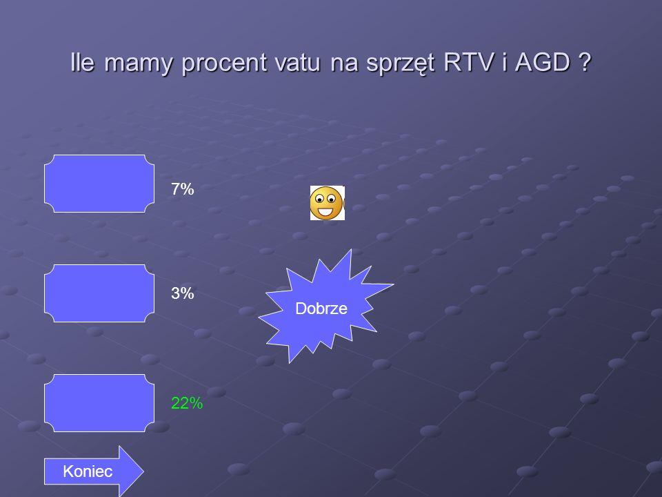Ile mamy procent vatu na sprzęt RTV i AGD 7% 3% 22% Koniec Dobrze