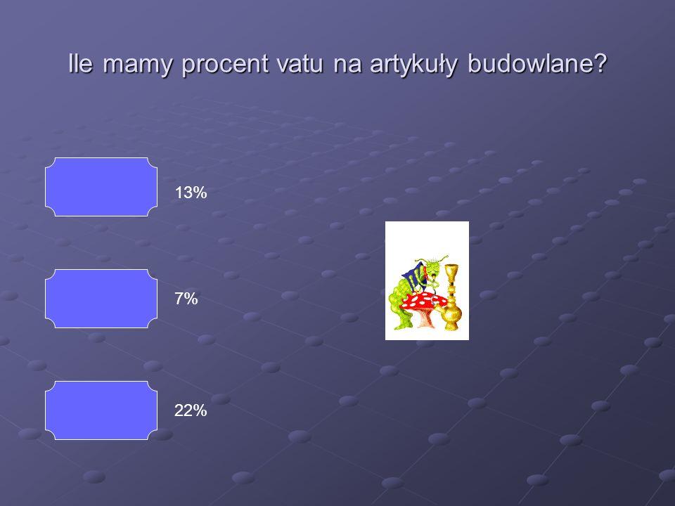 Ile mamy procent vatu na artykuły budowlane? 13% 7% 22% Powrót Źle
