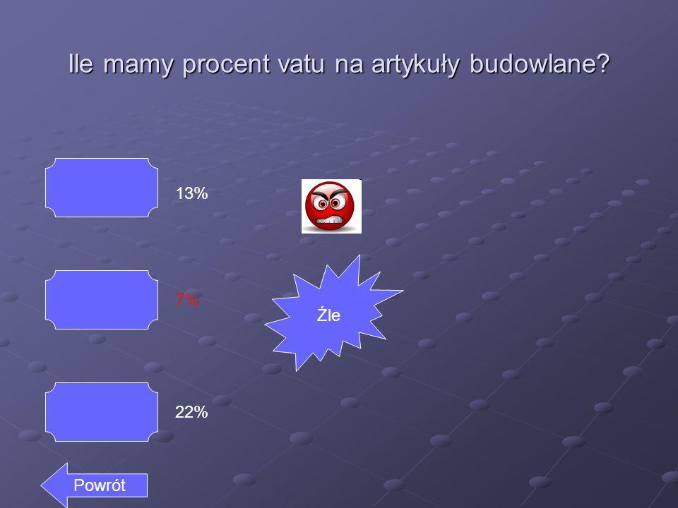 Ile mamy procent vatu na artykuły budowlane? 13% 7% 22% Dalej Dobrze