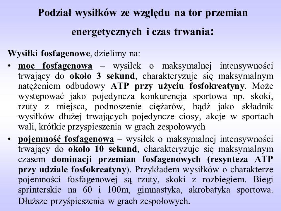 Podział wysiłków ze względu na tor przemian energetycznych i czas trwania : Wysiłki fosfagenowe, dzielimy na: moc fosfagenowa – wysiłek o maksymalnej