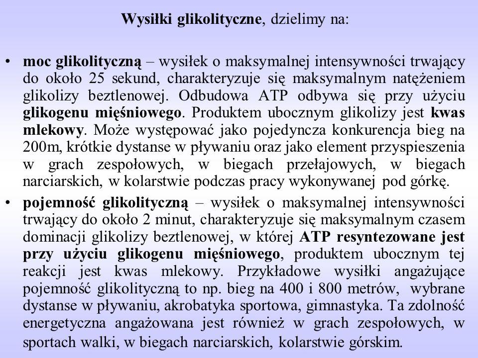 Wysiłki glikolityczne, dzielimy na: moc glikolityczną – wysiłek o maksymalnej intensywności trwający do około 25 sekund, charakteryzuje się maksymalny