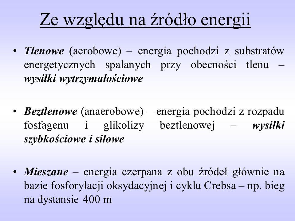 Procesy beztlenowe System beztlenowy bezmleczanowy ATP + PC Szybkość siła dynamiczna System beztlenowy mleczanowy Glikogen – kwas mlekowy Wytrzymałość beztlenowa Procesy tlenowe System tlenowo- beztlenowy Glikogen – glukoza + O 2 Wytrzymałość tlenowo- beztlenowa System tlenowyTłuszcze + O 2 Wytrzymałość tlenowa Podział i charakterystyka wykonanej pracy w oparciu o przemiany energetyczne