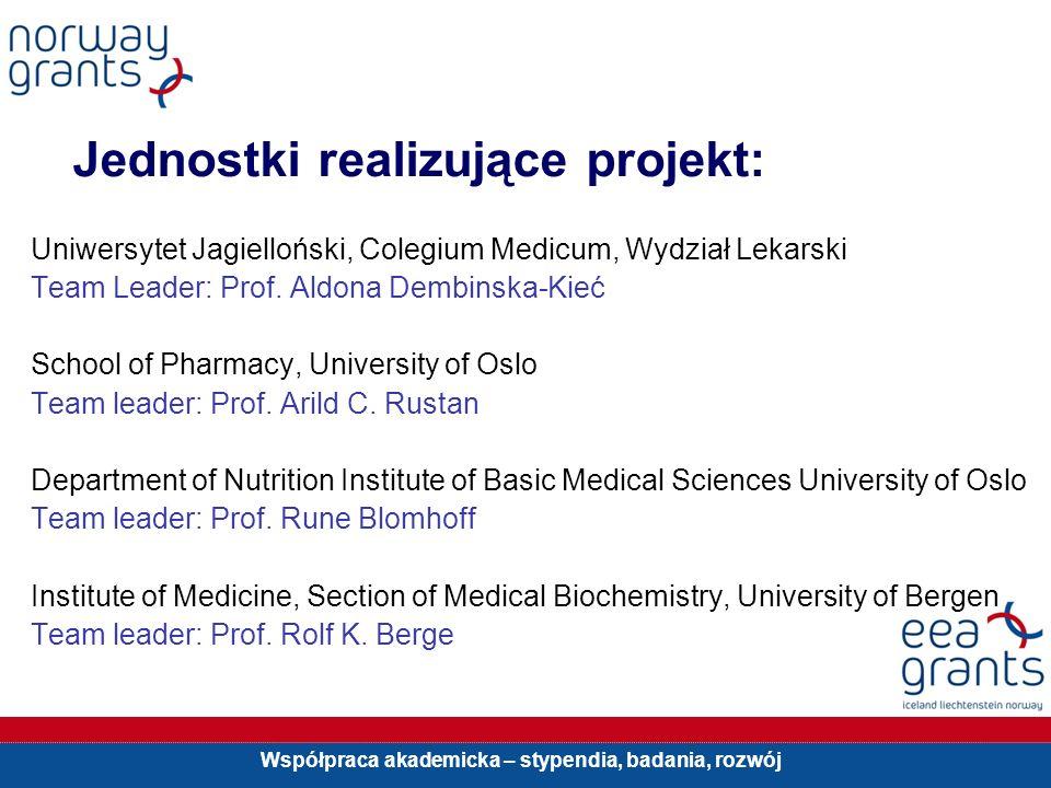 Współpraca akademicka – stypendia, badania, rozwój Jednostki realizujące projekt: Uniwersytet Jagielloński, Colegium Medicum, Wydział Lekarski Team Le