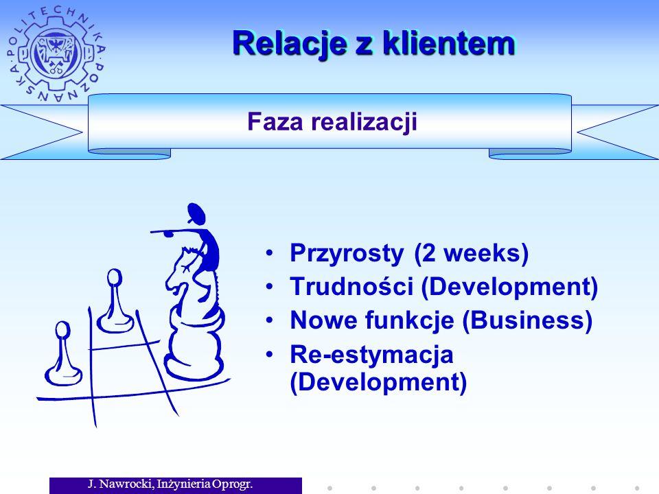 J. Nawrocki, Inżynieria Oprogr. Relacje z klientem Przyrosty (2 weeks) Trudności (Development) Nowe funkcje (Business) Re-estymacja (Development) Faza
