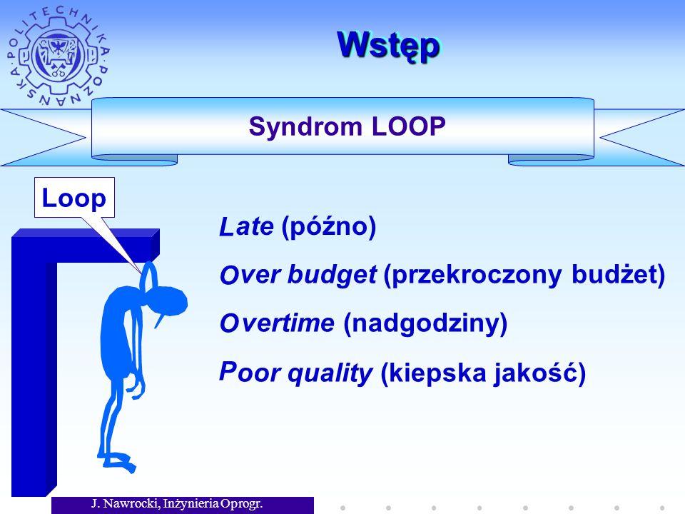J. Nawrocki, Inżynieria Oprogr. WstępWstęp LOOPLOOP Syndrom LOOP ate (późno) oor quality (kiepska jakość) ver budget (przekroczony budżet) vertime (na