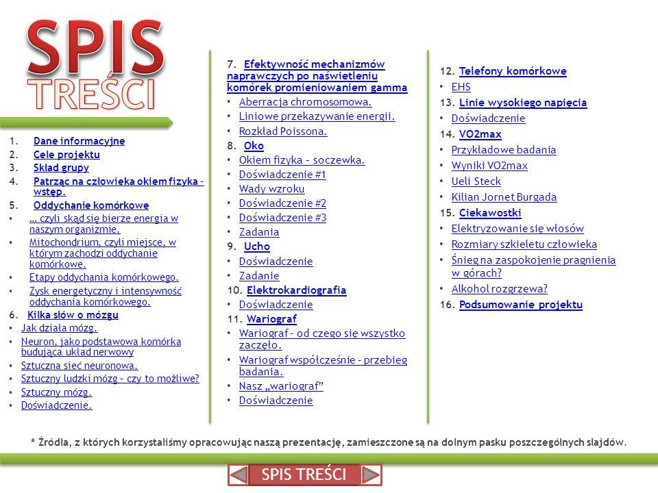 * Źródła, z których korzystaliśmy opracowując naszą prezentację, zamieszczone są na dolnym pasku poszczególnych slajdów. 1.Dane informacyjneDane infor