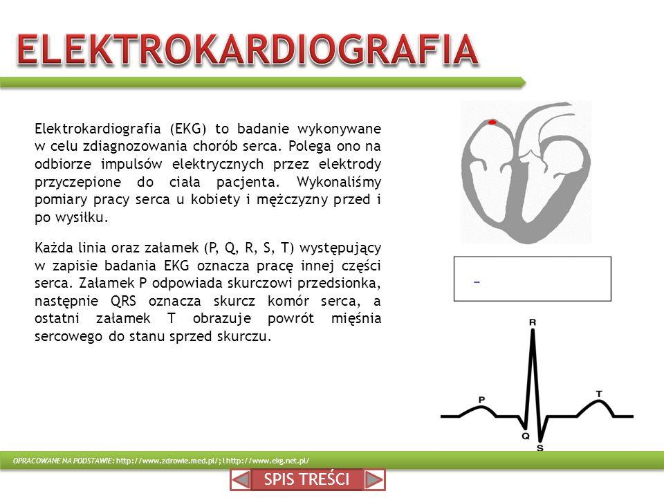 SPIS TREŚCI Elektrokardiografia (EKG) to badanie wykonywane w celu zdiagnozowania chorób serca. Polega ono na odbiorze impulsów elektrycznych przez el
