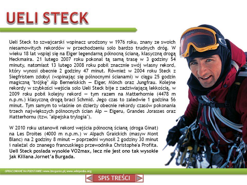 SPIS TREŚCI W 2010 roku ustanowił rekord wejścia północną ścianą (droga Ginat) na Les Droites (4000 m n.p.m.) w Alpach Graickich (masyw Mont Blanc) na