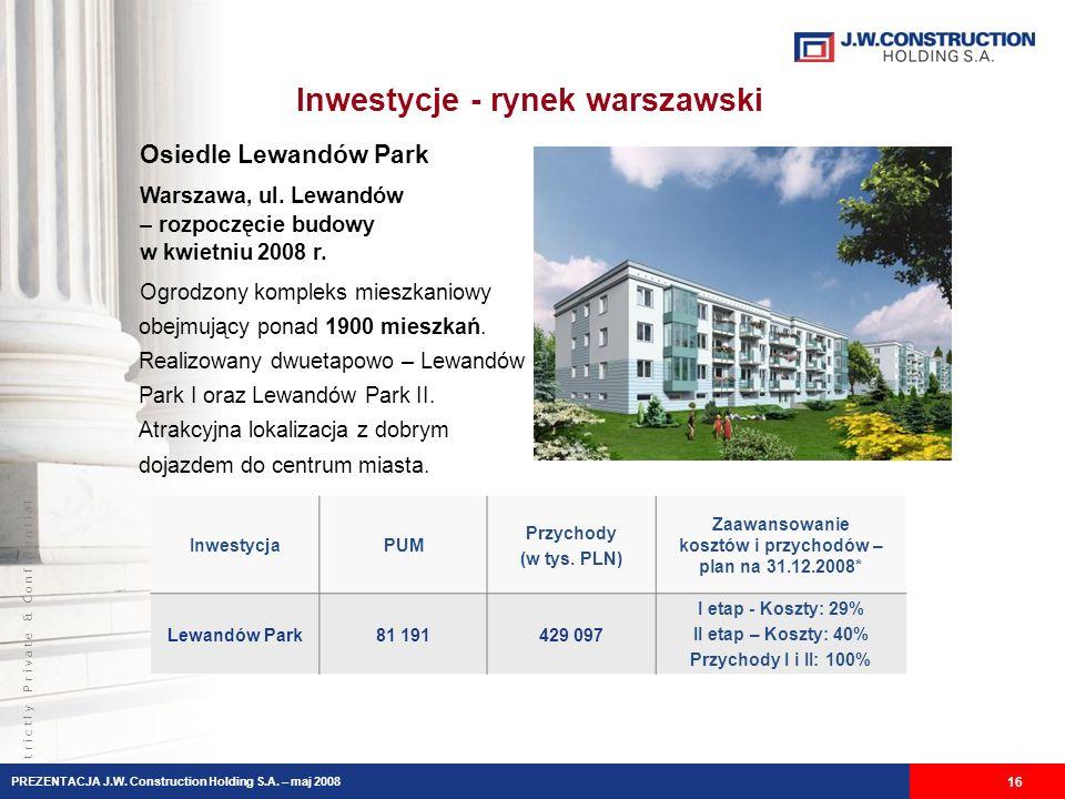 S t r i c t l y P r i v a t e & C o n f i d e n t i a l Inwestycje - rynek warszawski 16 PREZENTACJA J.W.