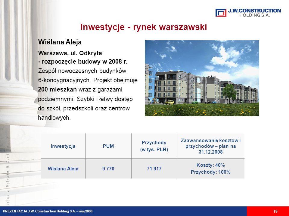 S t r i c t l y P r i v a t e & C o n f i d e n t i a l Inwestycje - rynek warszawski 19 PREZENTACJA J.W.