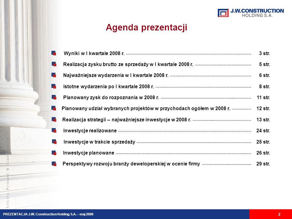 S t r i c t l y P r i v a t e & C o n f i d e n t i a l Agenda prezentacji Wyniki w I kwartale 2008 r.