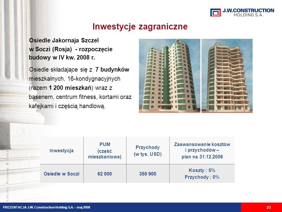 S t r i c t l y P r i v a t e & C o n f i d e n t i a l Inwestycje zagraniczne PREZENTACJA J.W.