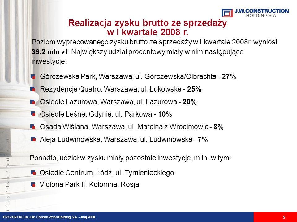 S t r i c t l y P r i v a t e & C o n f i d e n t i a l Realizacja zysku brutto ze sprzedaży w I kwartale 2008 r.