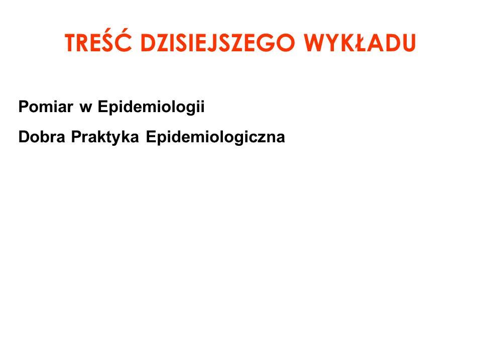 Pomiar w Epidemiologii Dobra Praktyka Epidemiologiczna TREŚĆ DZISIEJSZEGO WYKŁADU