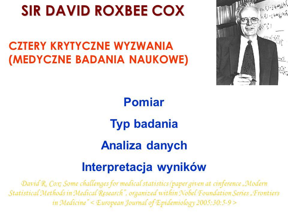 SIR DAVID ROXBEE COX SIR DAVID ROXBEE COX CZTERY KRYTYCZNE WYZWANIA (MEDYCZNE BADANIA NAUKOWE) Pomiar Typ badania Analiza danych Interpretacja wyników