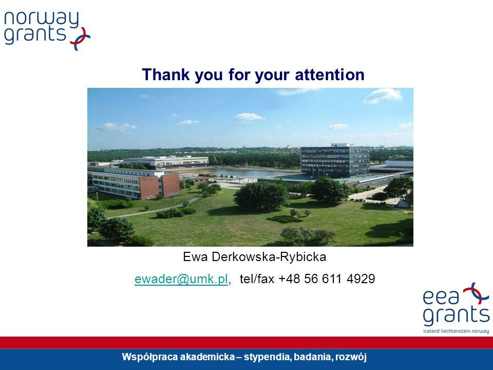 Współpraca akademicka – stypendia, badania, rozwój Thank you for your attention Ewa Derkowska-Rybicka ewader@umk.pl, tel/fax +48 56 611 4929ewader@umk.pl