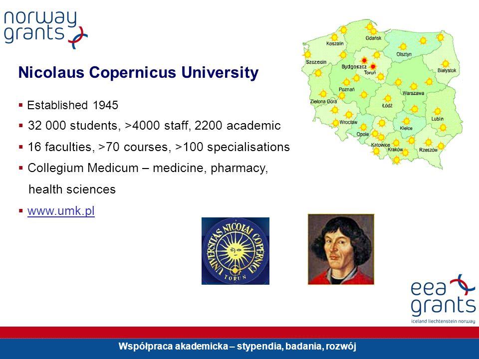 Współpraca akademicka – stypendia, badania, rozwój Nicolaus Copernicus University Established 1945 32 000 students, >4000 staff, 2200 academic 16 facu