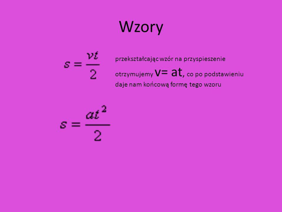 Wzory przekształcając wzór na przyspieszenie otrzymujemy v= at, co po podstawieniu daje nam końcową formę tego wzoru