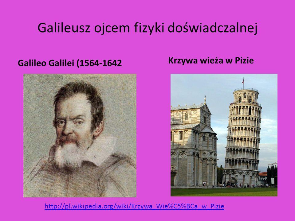 Galileusz ojcem fizyki doświadczalnej Galileo Galilei (1564-1642 Krzywa wieża w Pizie http://pl.wikipedia.org/wiki/Krzywa_Wie%C5%BCa_w_Pizie