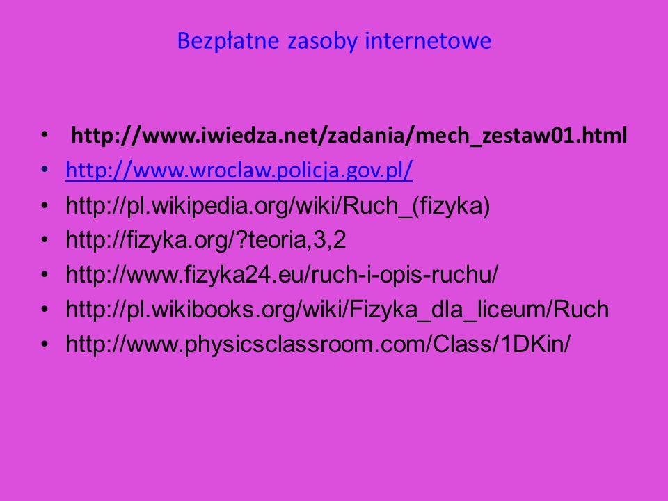 Bezpłatne zasoby internetowe http://www.iwiedza.net/zadania/mech_zestaw01.html http://www.wroclaw.policja.gov.pl/ http://www.wroclaw.policja.gov.pl/ h