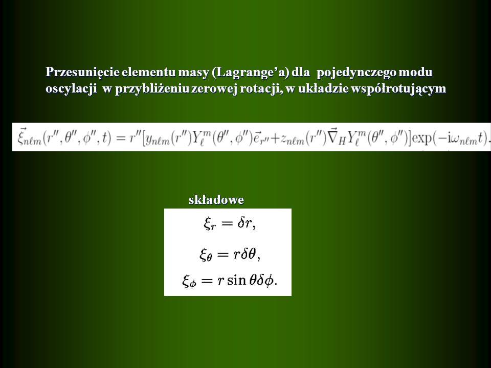 Przesunięcie elementu masy (Lagrangea) dla pojedynczego modu Przesunięcie elementu masy (Lagrangea) dla pojedynczego modu oscylacji w przybliżeniu zerowej rotacji, w układzie współrotującym oscylacji w przybliżeniu zerowej rotacji, w układzie współrotującym składowe składowe