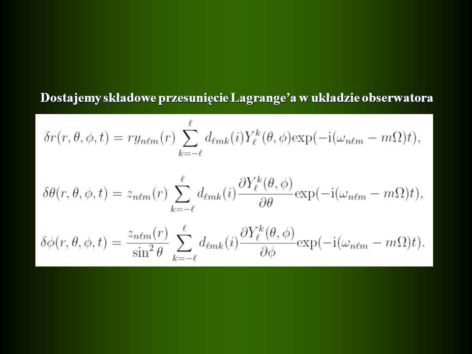 Dostajemy składowe przesunięcie Lagrangea w układzie obserwatora