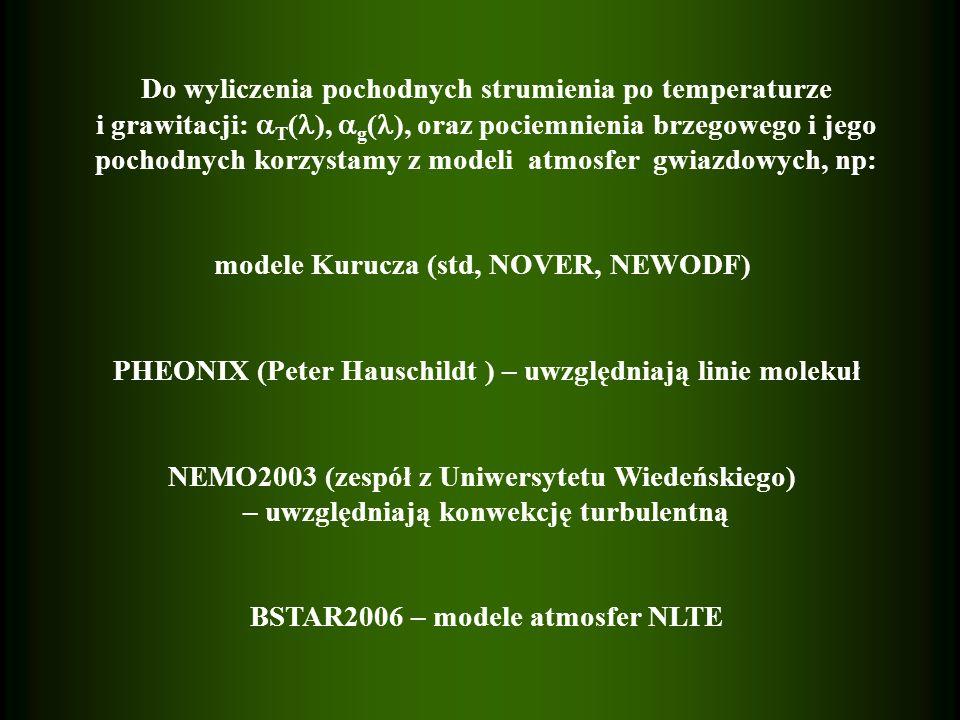 Do wyliczenia pochodnych strumienia po temperaturze i grawitacji: T ( ), g ( ), oraz pociemnienia brzegowego i jego pochodnych korzystamy z modeli atmosfer gwiazdowych, np: modele Kurucza (std, NOVER, NEWODF) PHEONIX (Peter Hauschildt ) – uwzględniają linie molekuł NEMO2003 (zespół z Uniwersytetu Wiedeńskiego) – uwzględniają konwekcję turbulentną BSTAR2006 – modele atmosfer NLTE
