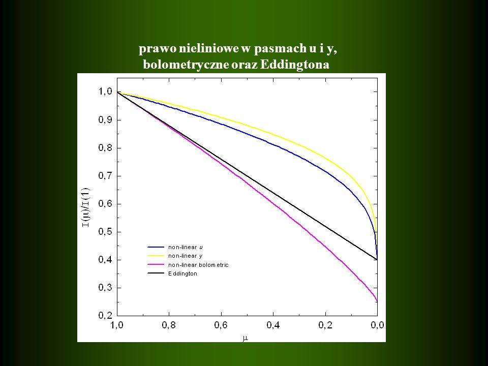 prawo nieliniowe w pasmach u i y, bolometryczne oraz Eddingtona