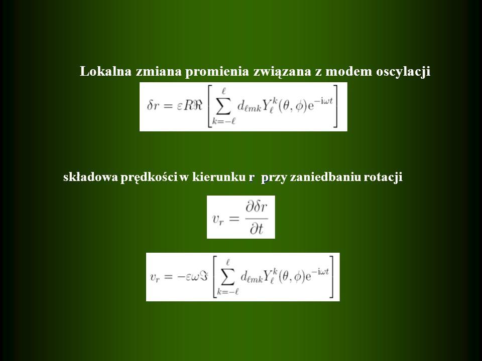 Lokalna zmiana promienia związana z modem oscylacji r p składowa prędkości w kierunku r przy zaniedbaniu rotacji