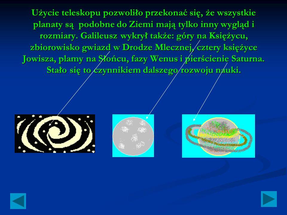 Użycie teleskopu pozwoliło przekonać się, że wszystkie planaty są podobne do Ziemi mają tylko inny wygląd i rozmiary.