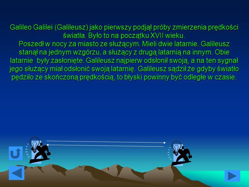 Niestety, w trakcie wielokrotnych prób Galileusz zorientował się, że błysk latarni służącego następował równocześnie z odsłonięciem swojej latarni.