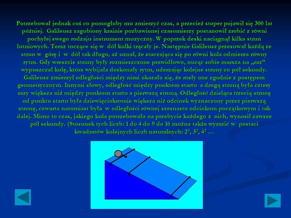 Ponieważ Galileusz był matematykiem, znalazł wzór służący do opisu tego ruchu.