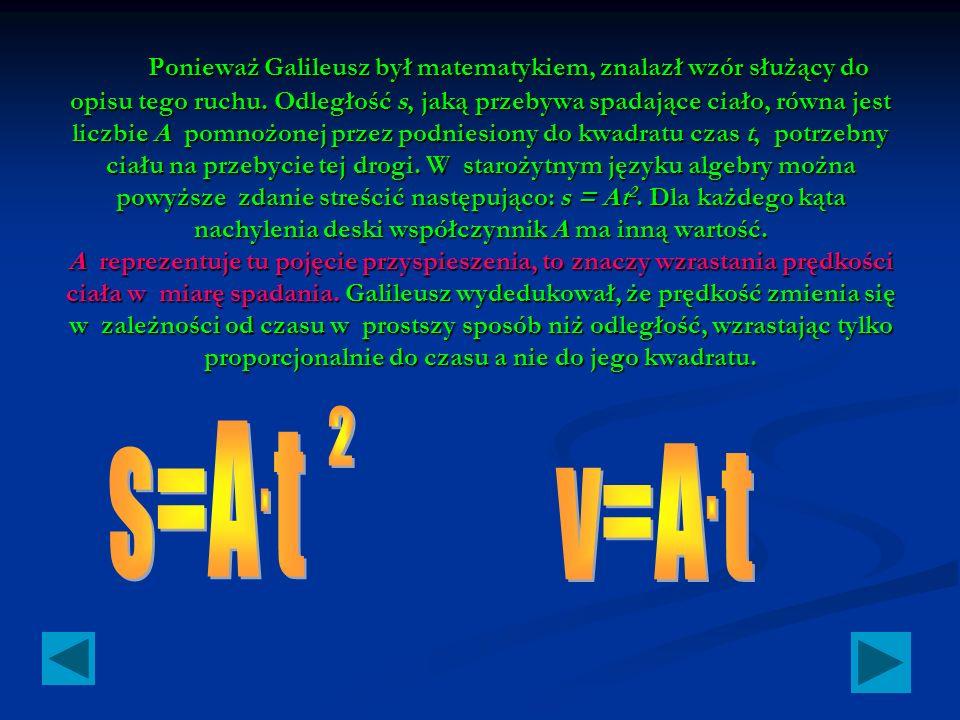 Prawo swobodnego spadania jest także przykładem badań Galileusza.